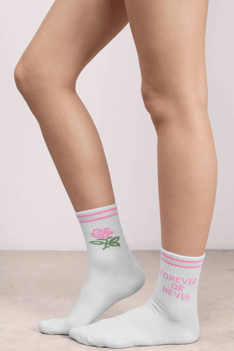 Yeah Bunny Yeah Bunny Forever Or Never White & Pink Printed Cotton Socks