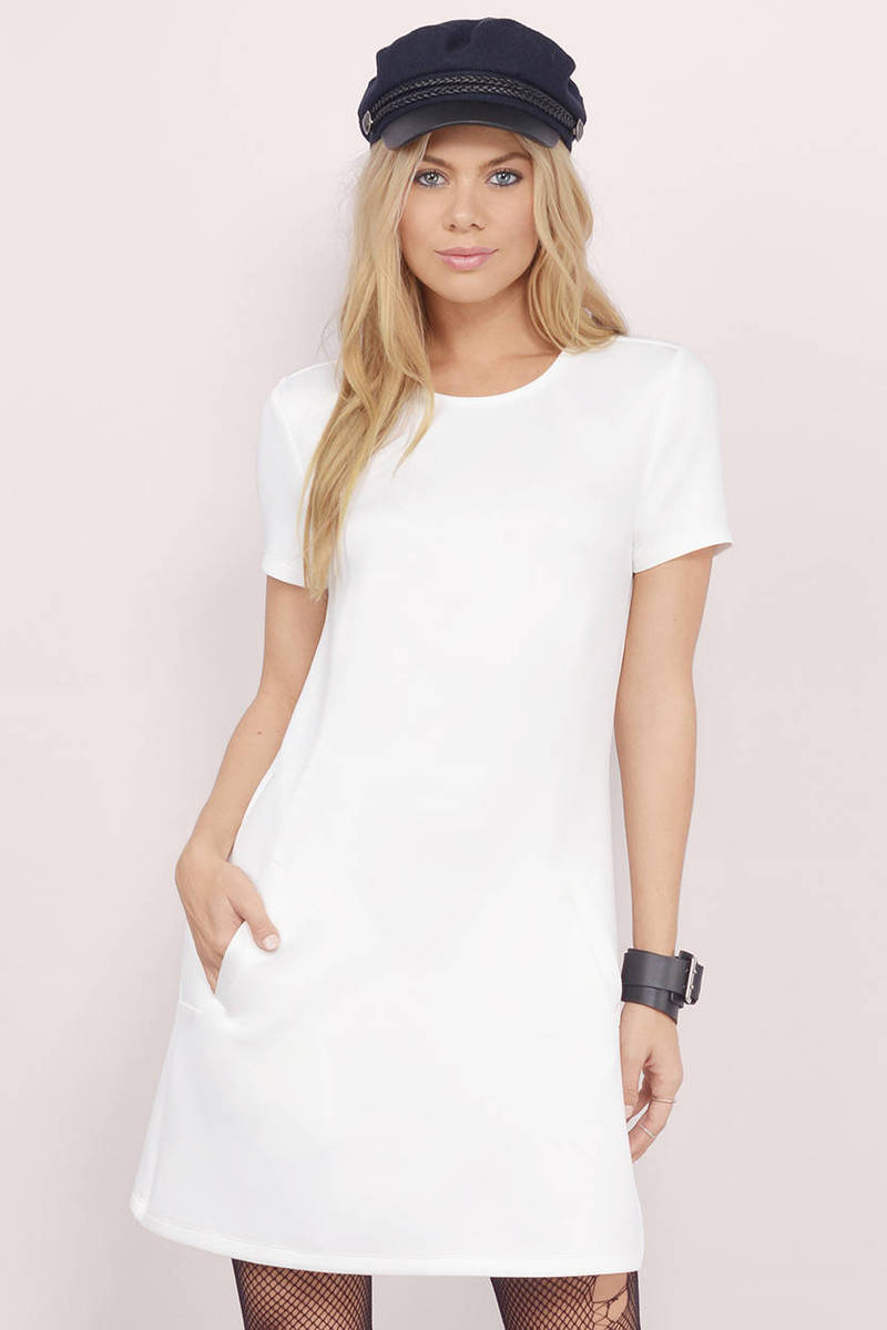 Play It Right White Shift Dress