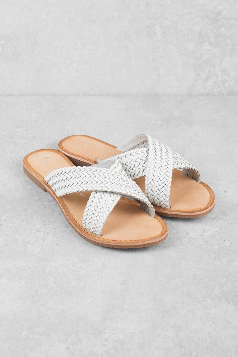White Blue Leather Slides Sandals