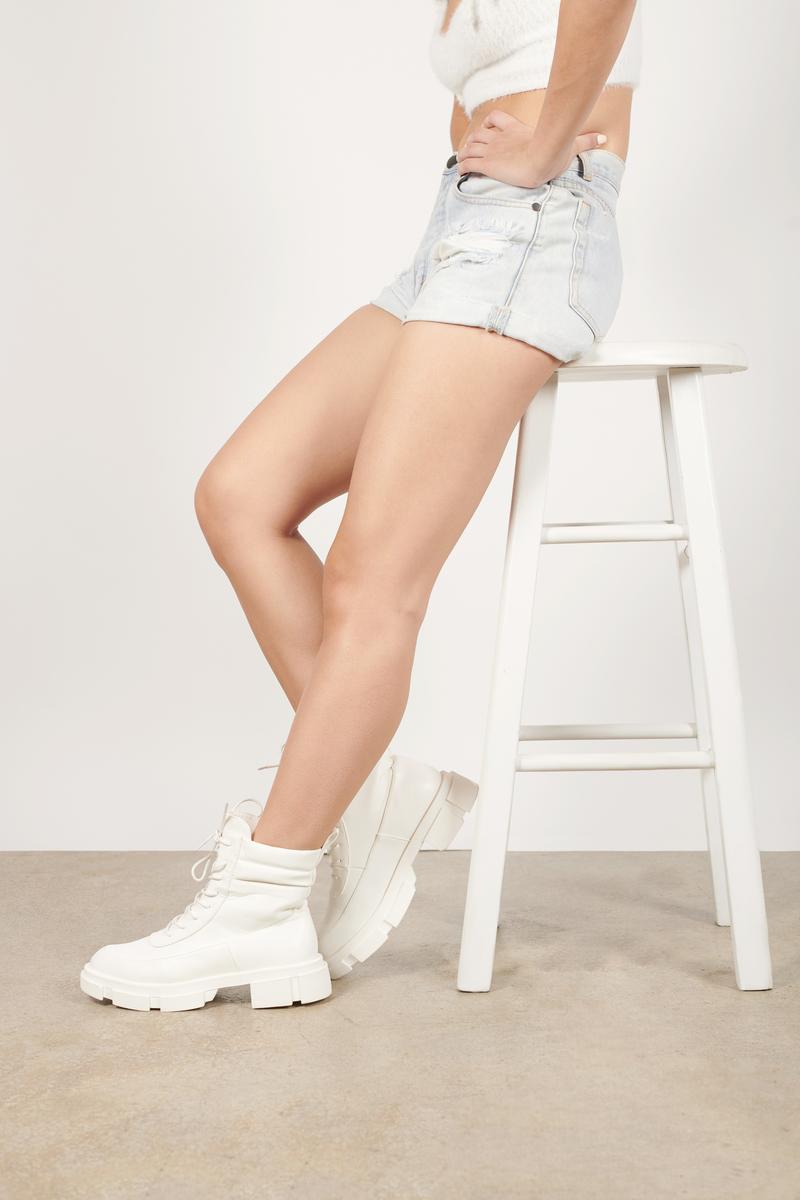 Prema White Faux Leather Combat Boots