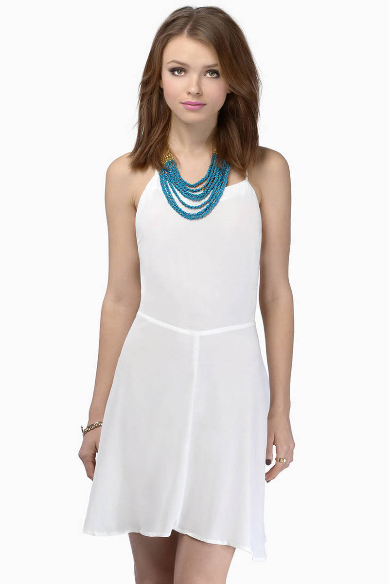 Prima Donna White Open Back Cami Skater Dress