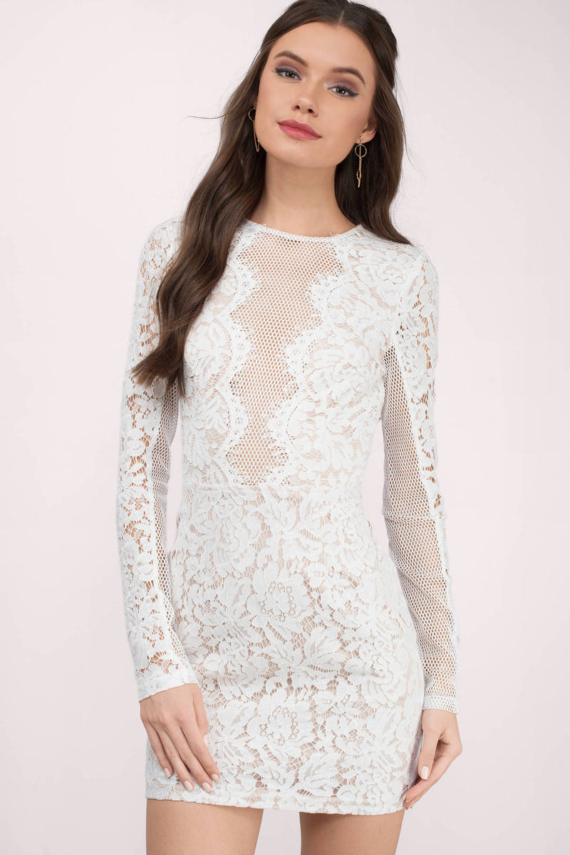 1beaf23df3e8 Cute Dress - Lace Bodycon Dress - Long Sleeve - White Dress - $22 ...