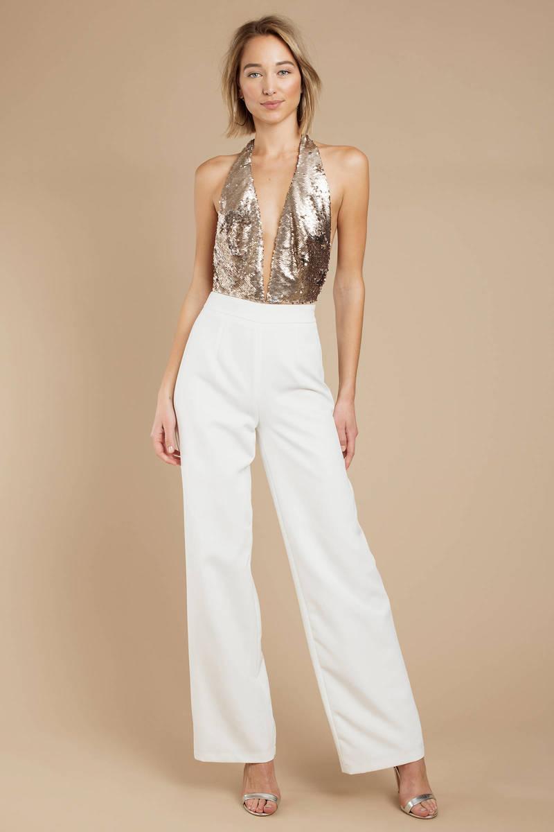 8e75c5a5000c White Pants - High Waisted Pants - White Wide Leg Trousers -  39 ...