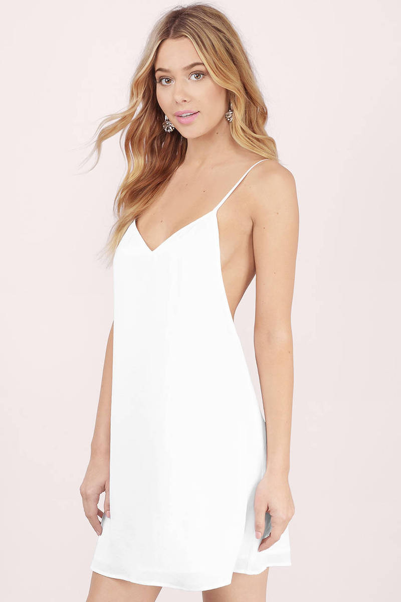 40c71a1ba616 Cute White Shift Dress - V Neck Dress - White Dress - Shift Dress ...