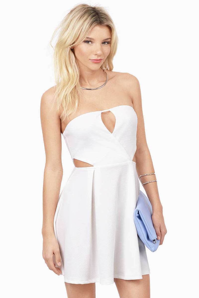 Right About Now White Skater Dress
