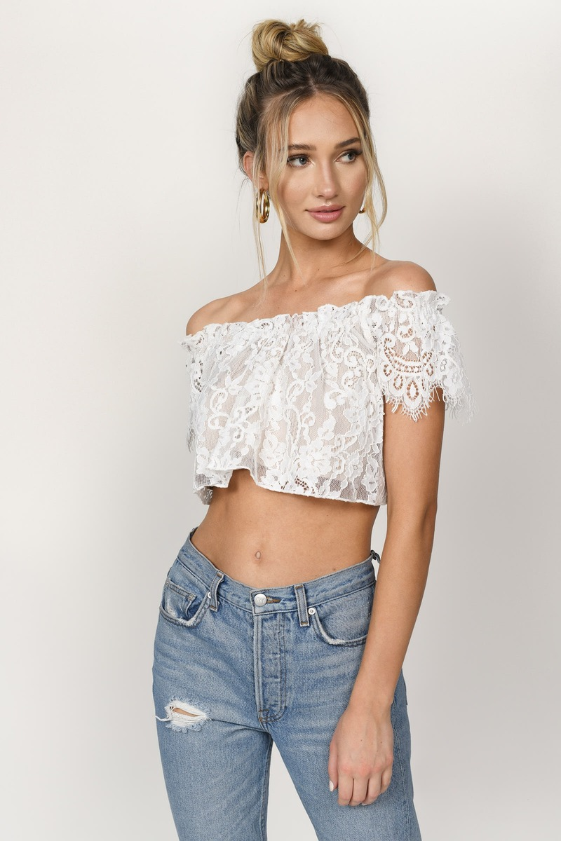 63bec6f2b10 Lovely White Crop Top - Lace Crop Top - White Off Shoulder Top - $16 ...