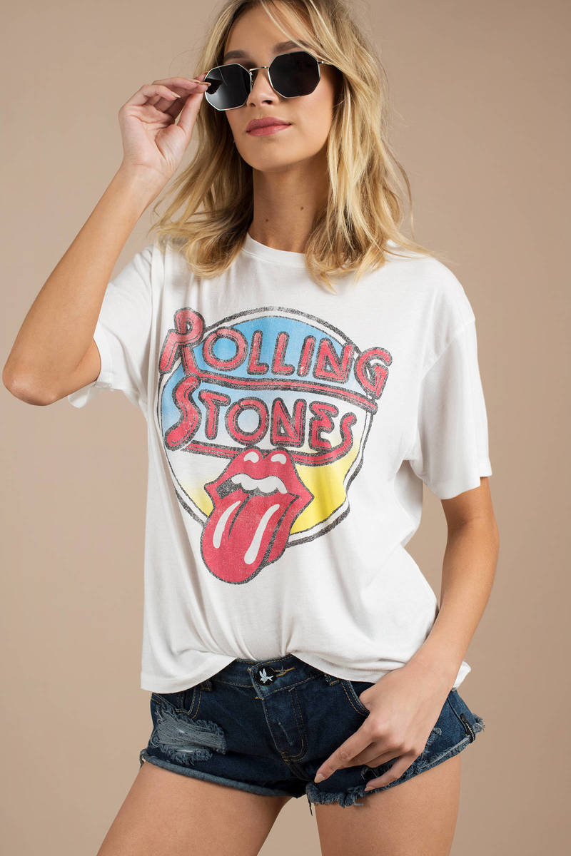 72d68ed2 White Vintage Shirt - Rolling Stones T Shirt - White Graphic Tee ...