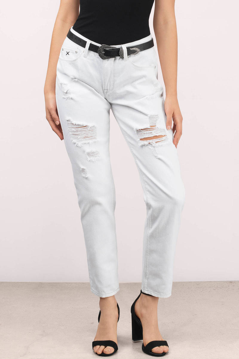 RES Denim Res Denim Romeo White  Distressed Boyfriend Jean