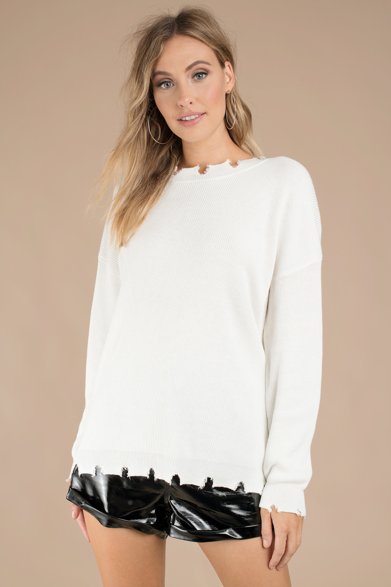 3b7a0007e27 White Sweater - Distressed Sweater - White Honey Punch Sweater -  25 ...