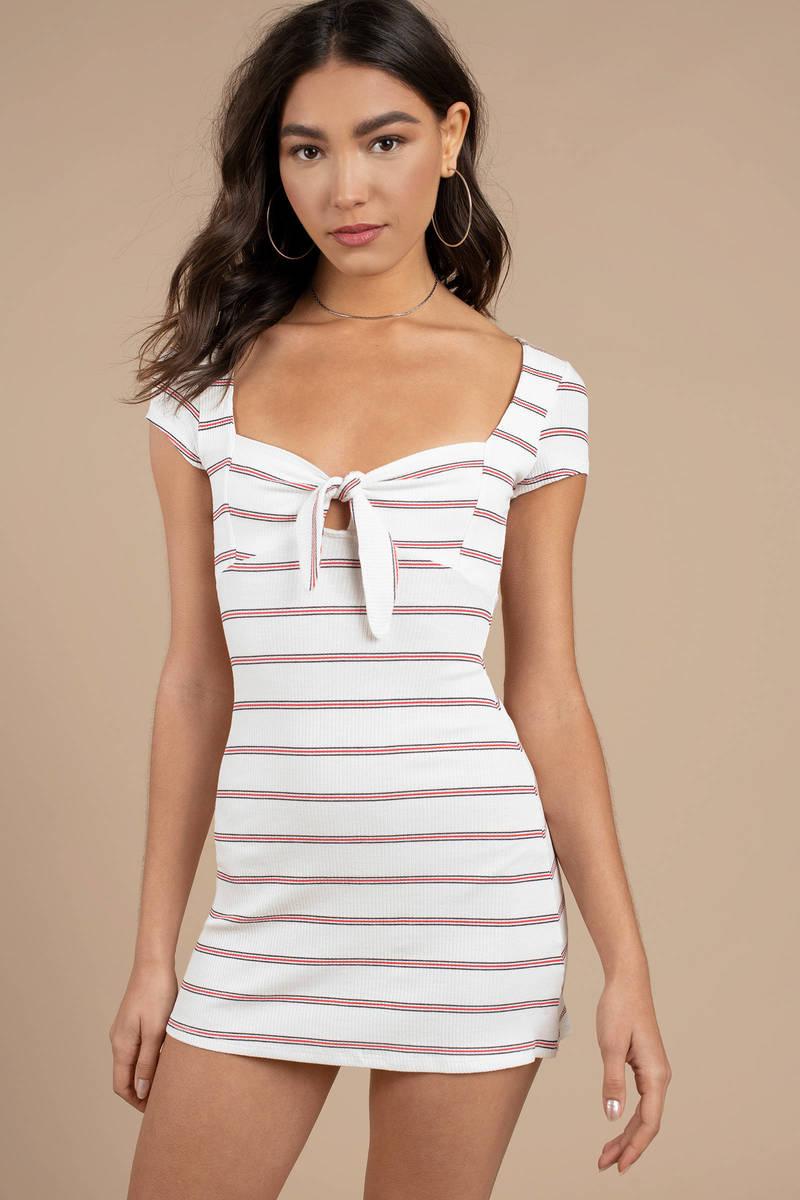 098311e223 White Bodycon Dress - Striped Bow Dress - White Stripe Bodycon Dress ...