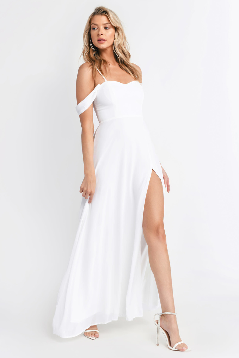d4dba368e199 White Maxi Dress - Homecoming Dress - White Off Shoulder Maxi Dress ...