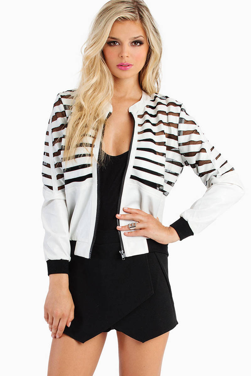 Sermonia Striped Bomber Jacket