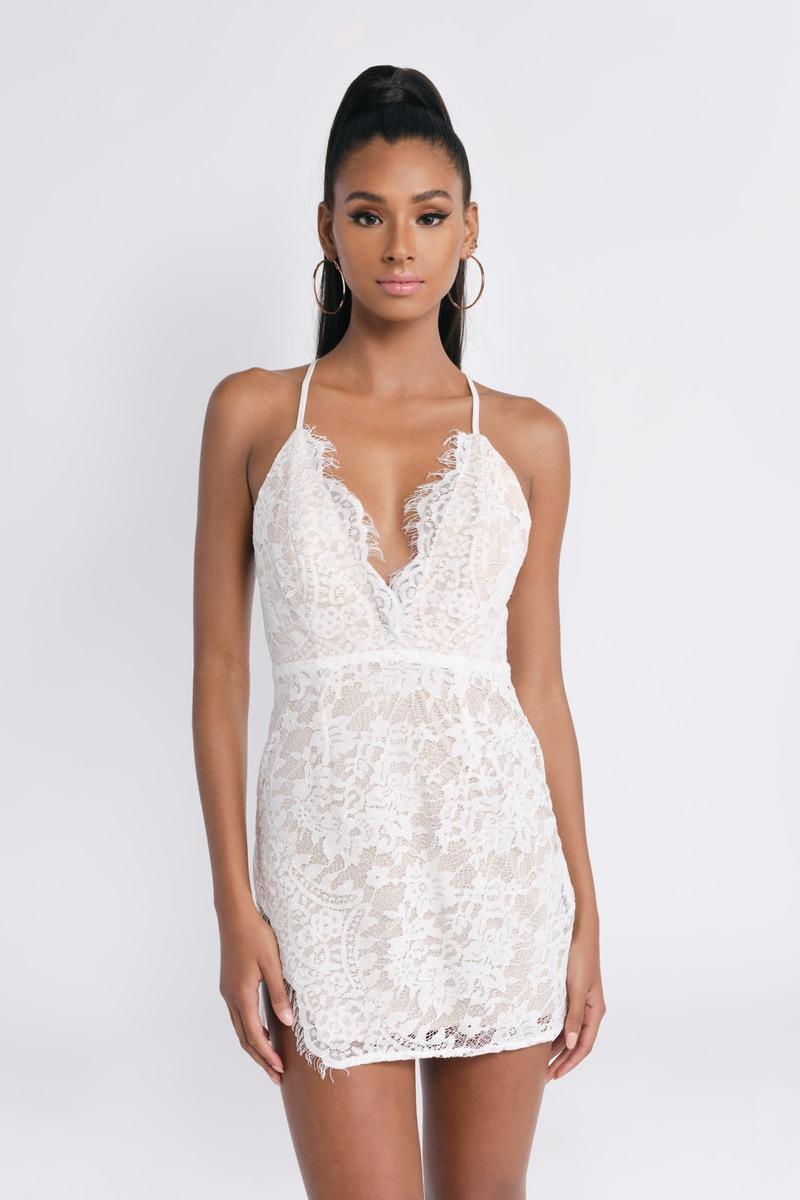 c7e90a7ec7 Side Eye White Lace Bodycon Dress -  36