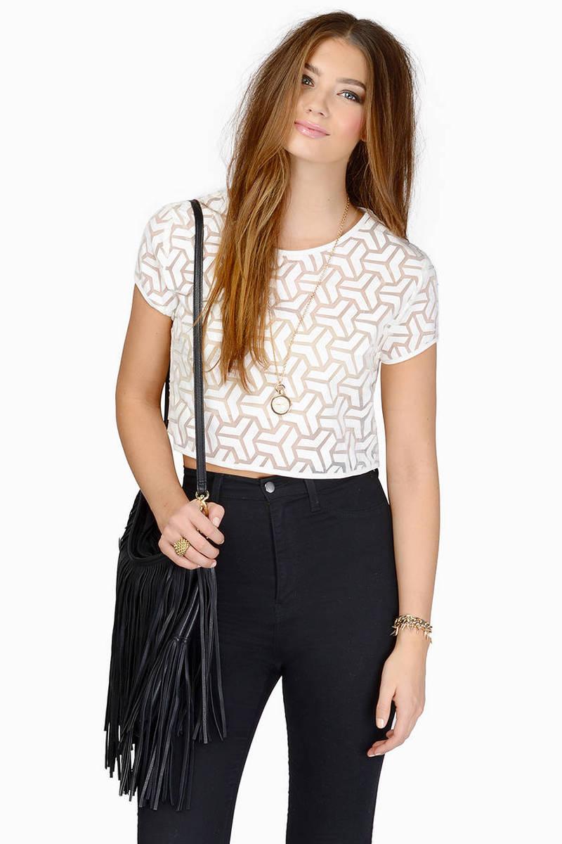 66215f42fcb6f Cheap White Crop Top - White Top - Short Sleeve Top - White Crop Top ...