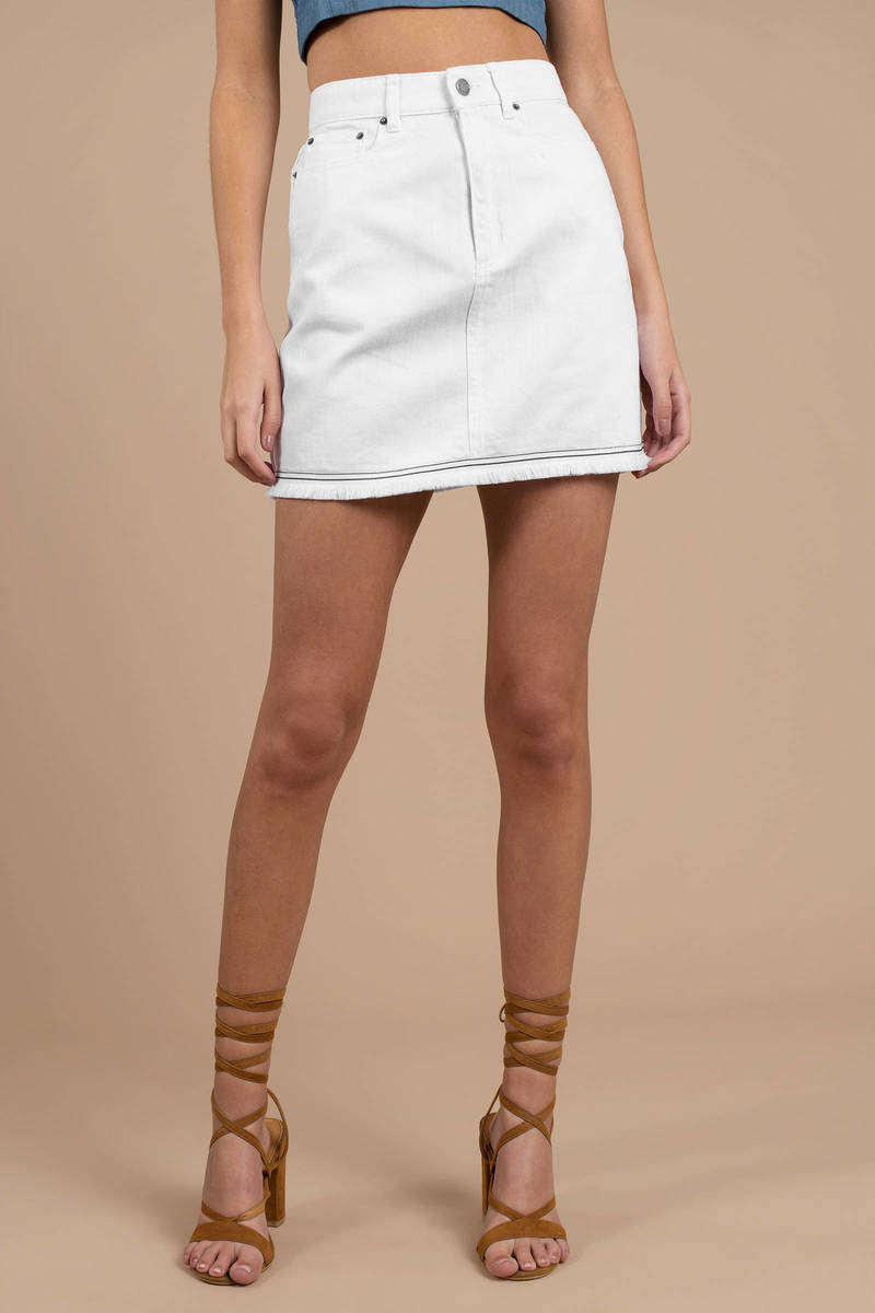 024cce892e White The Fifth Label Skirt - Fringe Skirt - White Denim Mini Skirt ...