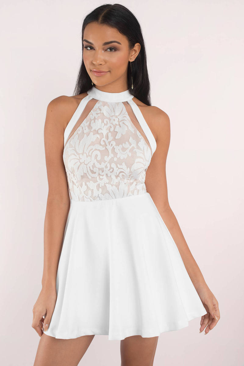 07f2148a6fd2 White Skater Dress - Lace High Neck Dress - Elegant White Dress ...
