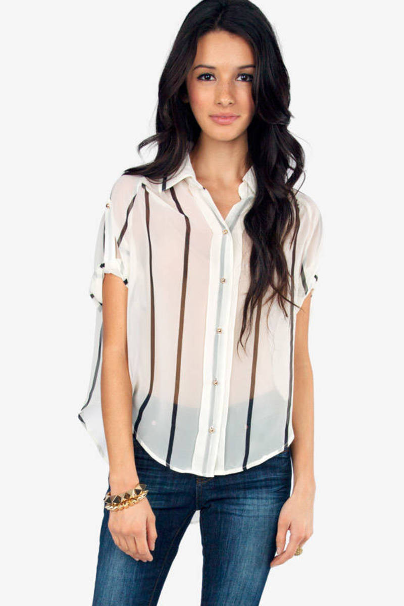 Spacer Button Up Blouse
