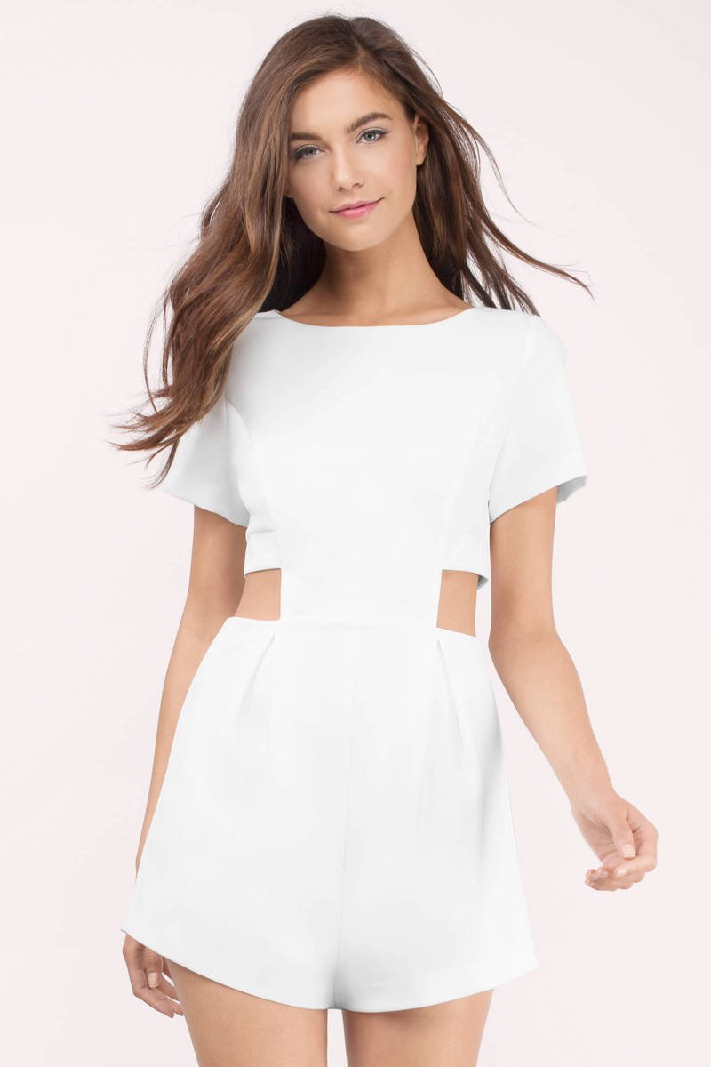 c2d2cdba05f White Romper - Cut Out Romper - Short Sleeve Romper - Shift Romper ...
