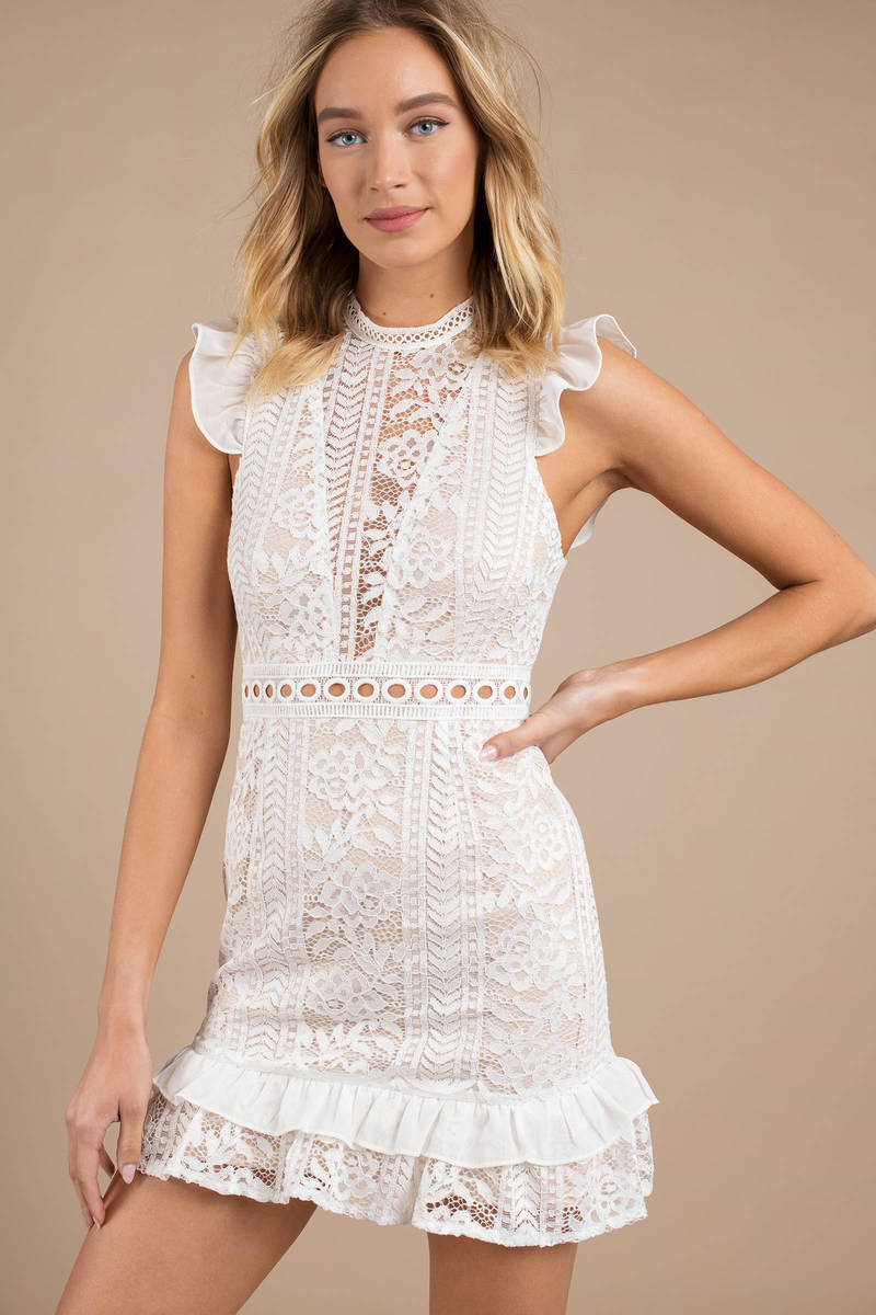 c855ff029c White Bodycon Dress - High Neck Dress - White Ruffle Sleeve Dress ...