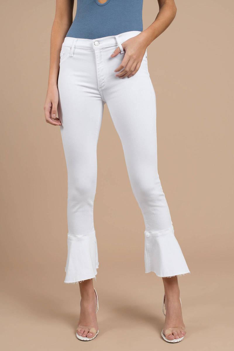 9e4db6f6bcaa9 White Black Orchid Pants - Ruffle Pants - Tight White Cropped Pants ...