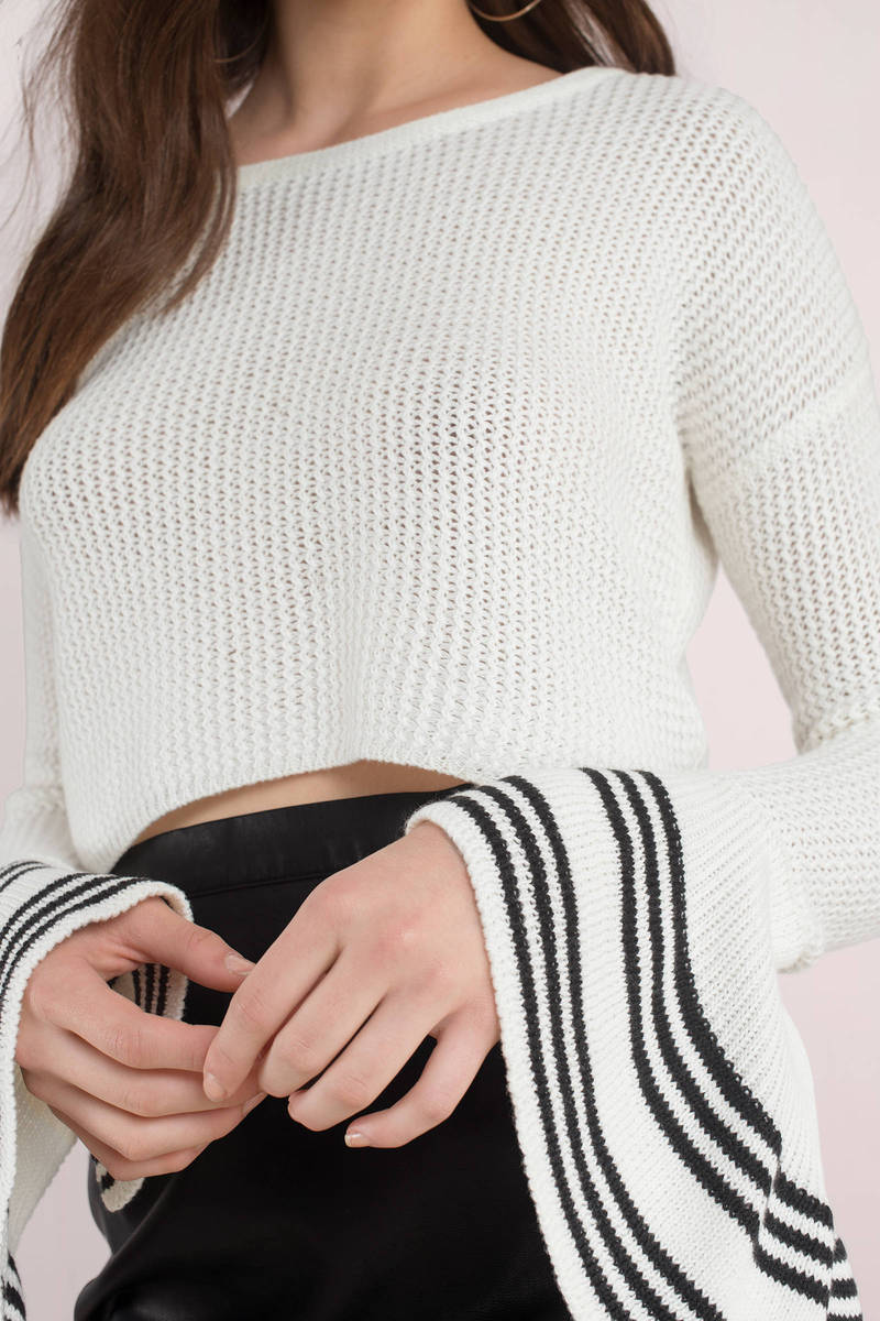Stripe To Stripe White Cropped Sweater - NZ$ 104 | Tobi NZ