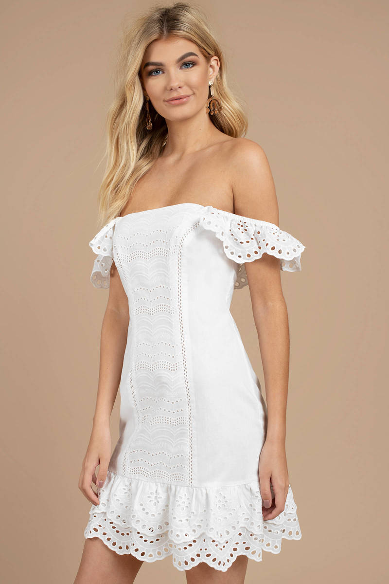 429ad4bcb7 White Finders Keepers Dress - Strapless Dress - White Off Shoulder ...