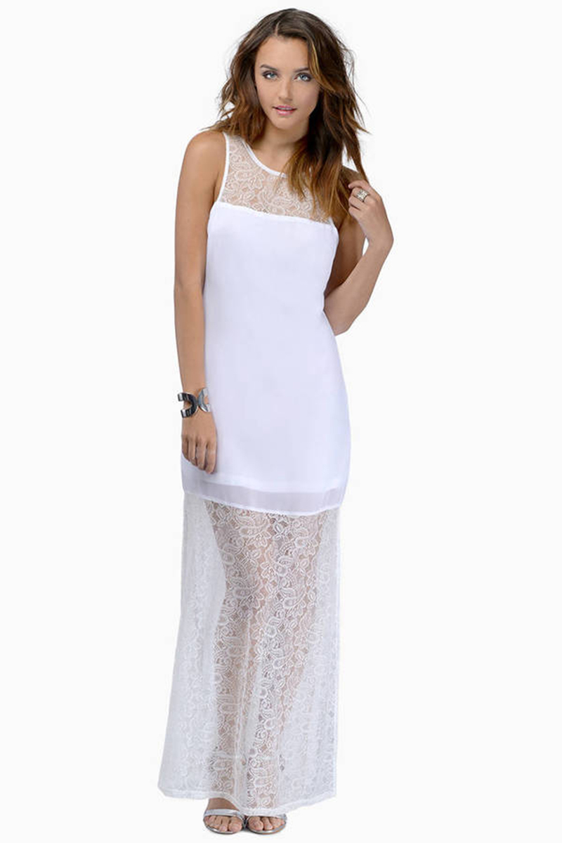 Cheap White Maxi Dress - White Dress - Lace Dress - $17.00