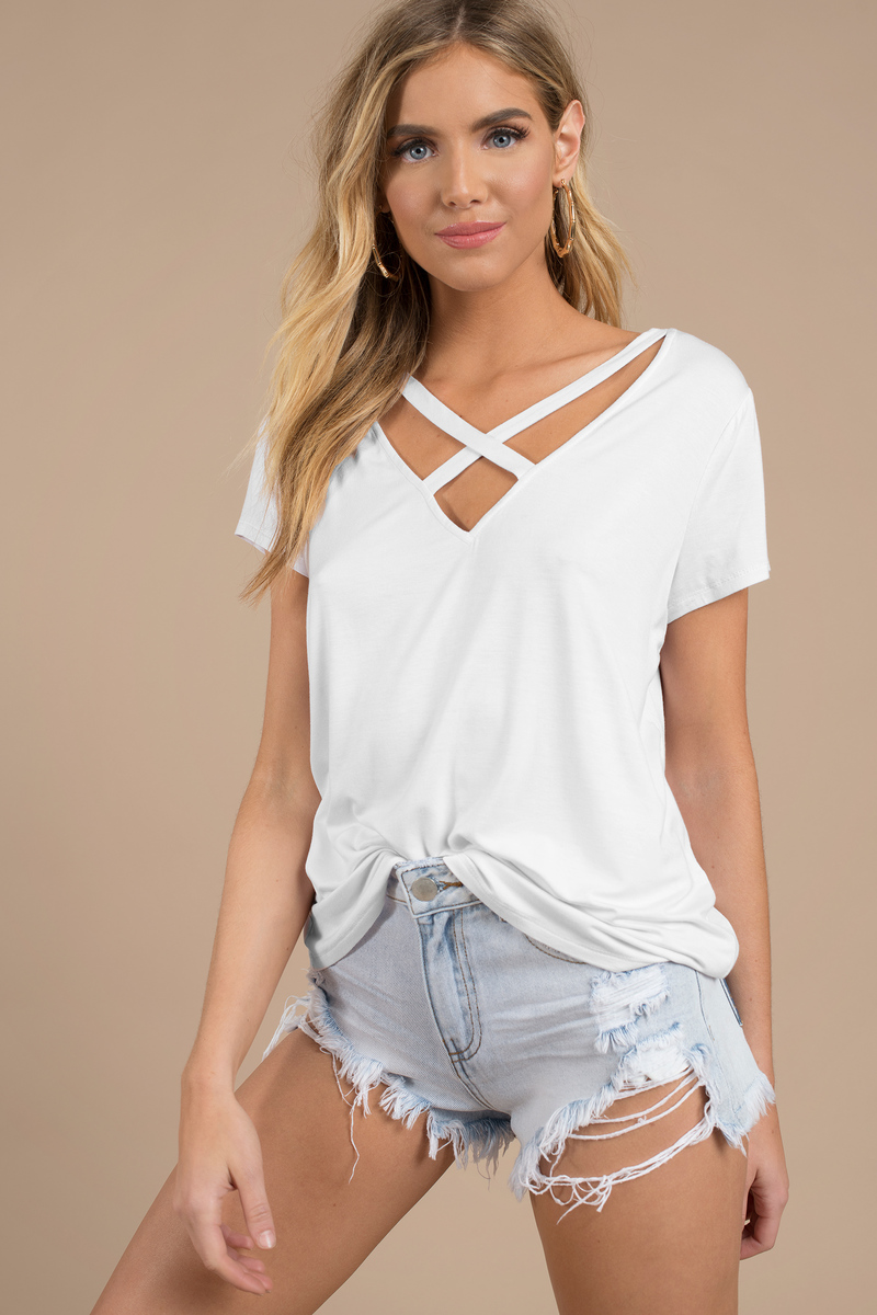 cba3a8ee0fe2 Cute White Top - Strappy Top - White Top - White Tee Shirt - C$ 22 ...