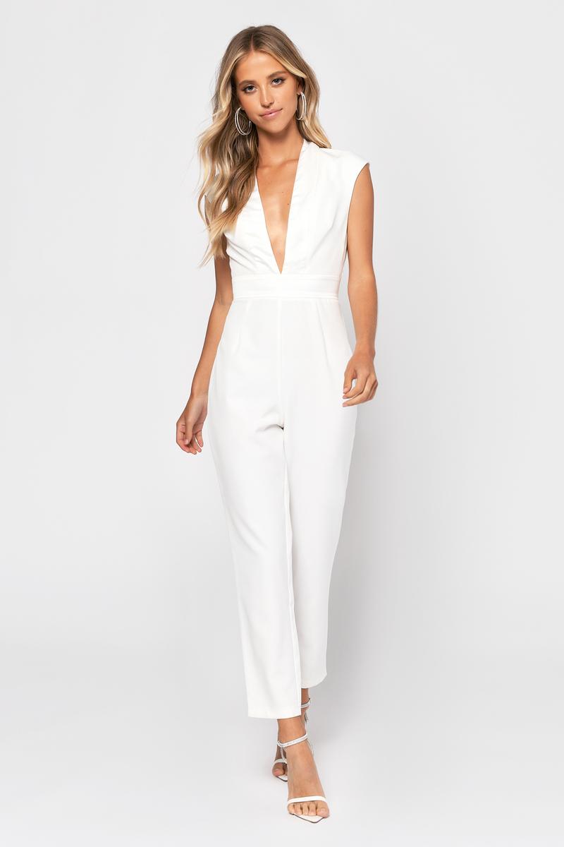 cc224909058 White Jumpsuit - Plunging Jumpsuit - White Culotte Jumpsuit -  39 ...