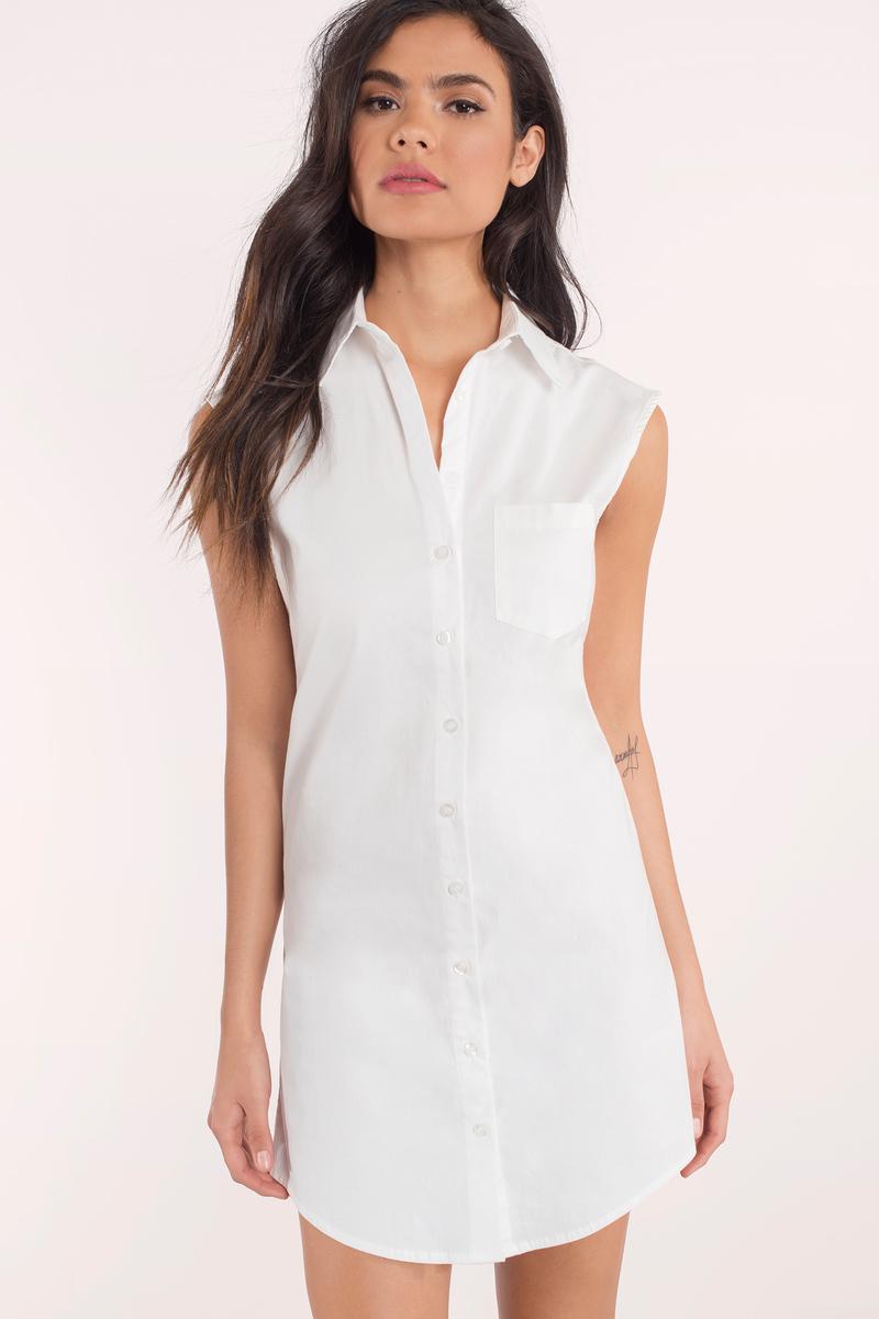 7b77cdc2 White Shirt Dress - Sleeveless Dress - Long Dress Shirt - Day Dress ...
