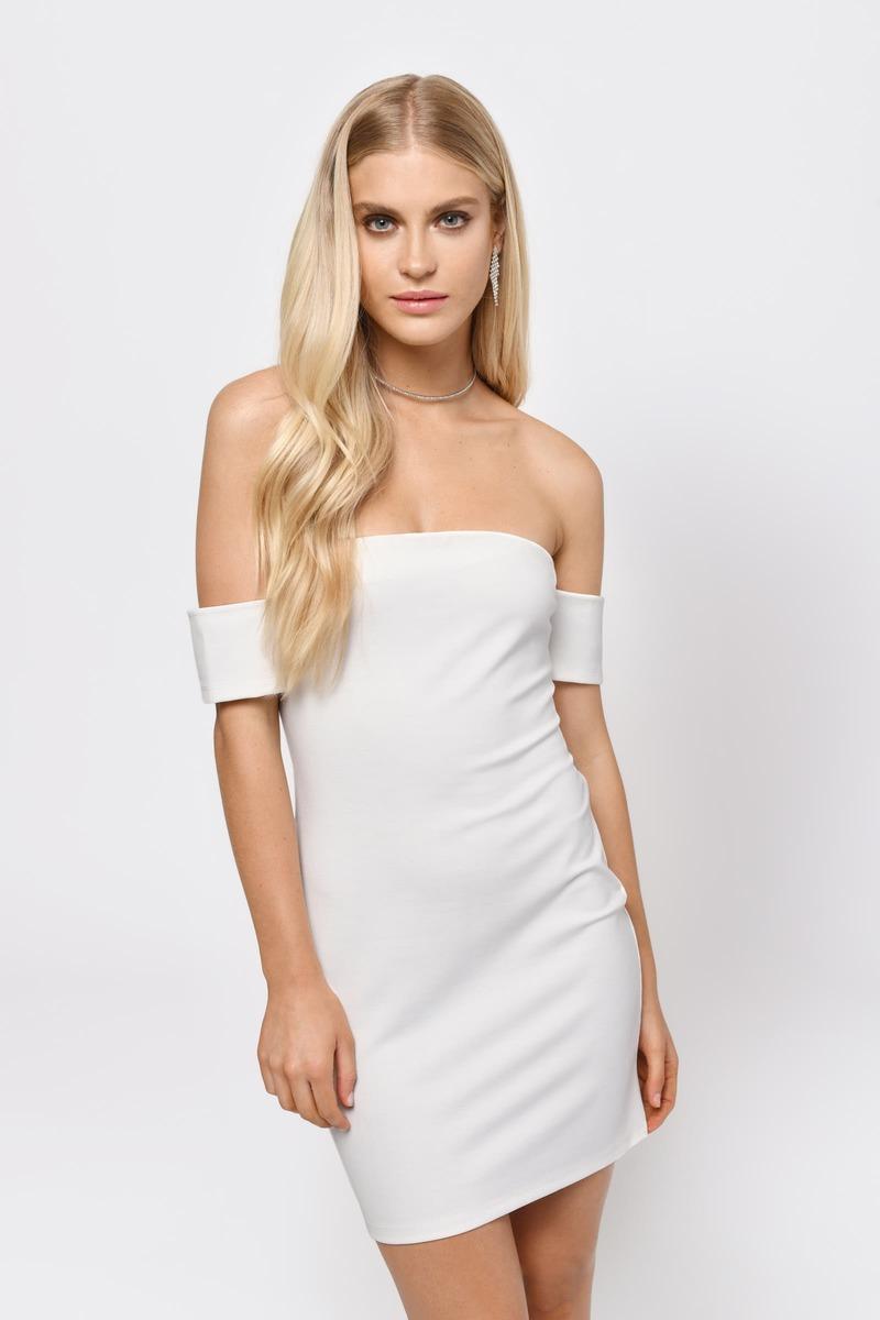 7955b5caba1 Cute Dress - Lace Up Back - Off Shoulder Dress - White Dress -  27 ...