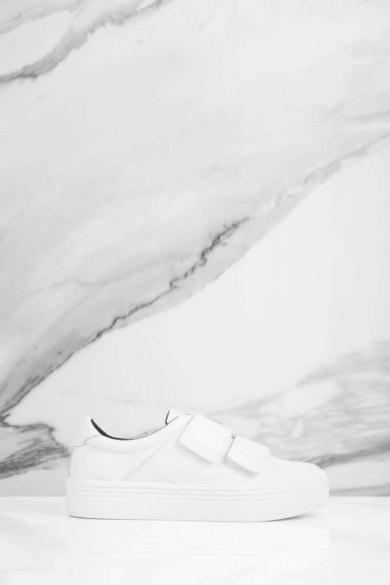 white velcro platform sneakers