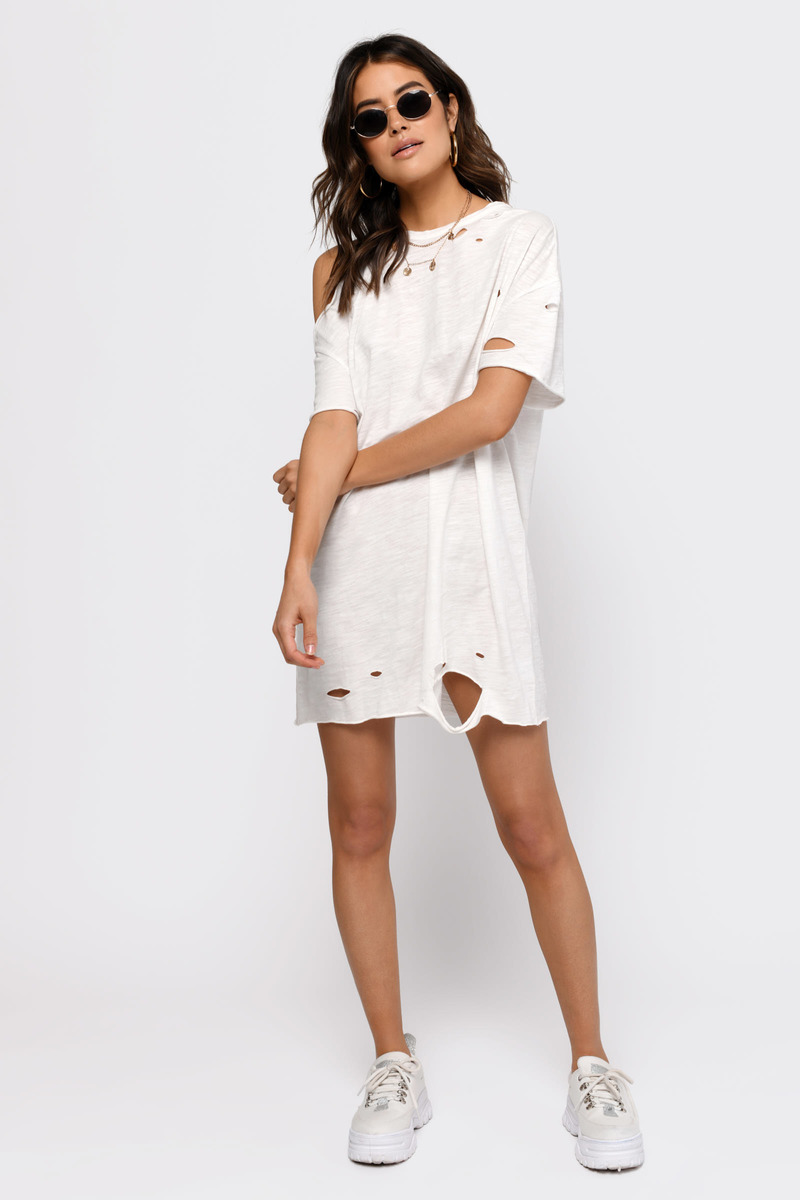 a778897e9e3c White Shift Dress - Rock And Roll T Shirt Dress - White Shirt Dress ...