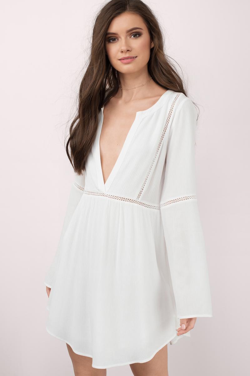 a165d0f175 White Shift Dress - Plunging Dress - White Kaftan Dress - Day Dress ...