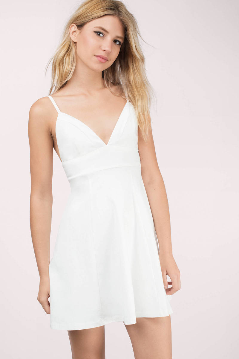 Tripping Out White Skater Dress