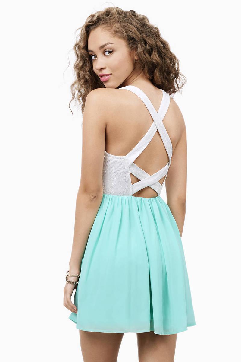 White & Turquoise Dress - Turquoise Blue Dress - Skater Dress - £12 ...