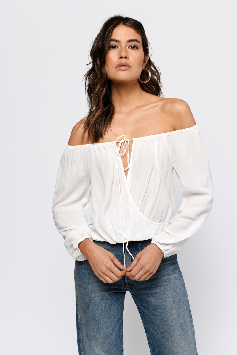 10014f699f9078 Cute Top - Off Shoulder Top - Long Sleeve Top - White Blouse -  58 ...