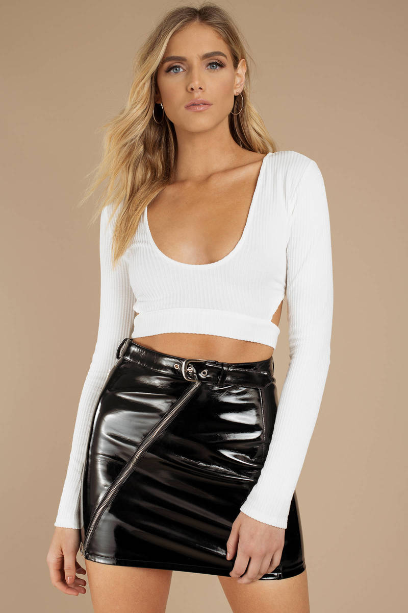 77a4a69fe30e White Crop Top - Cutout Crop Top - White Long Sleeve Top -  24