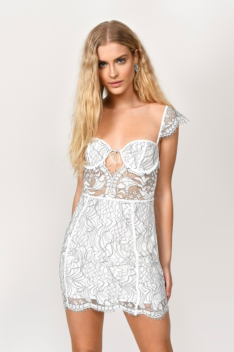 aceafc72532 White Bodycon Dress - Lace Paneled Bodycon Dress - White Bustier ...