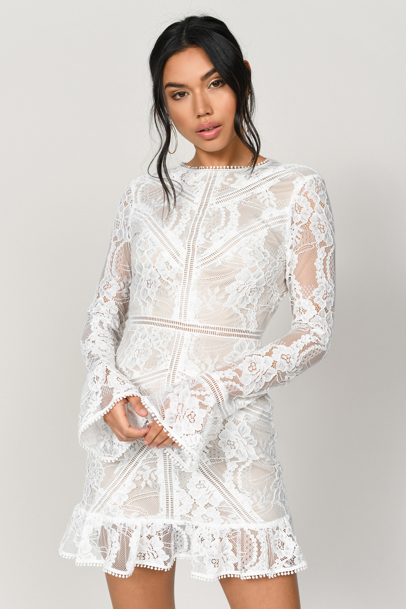 f7408b6ff9 White Bodycon Dress - High Neck Lace Dress - White Long Sleeve ...
