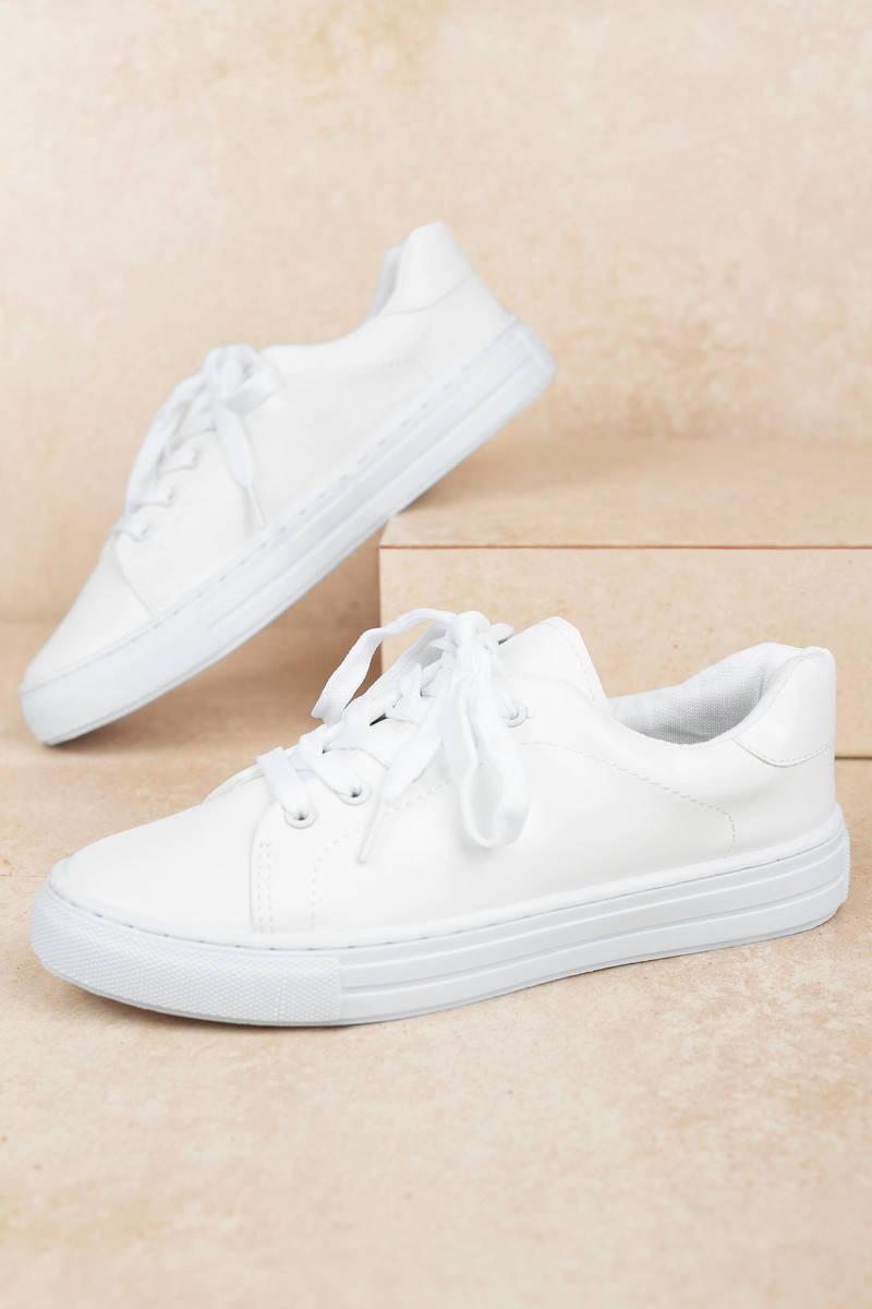 white vegan leather sneakers