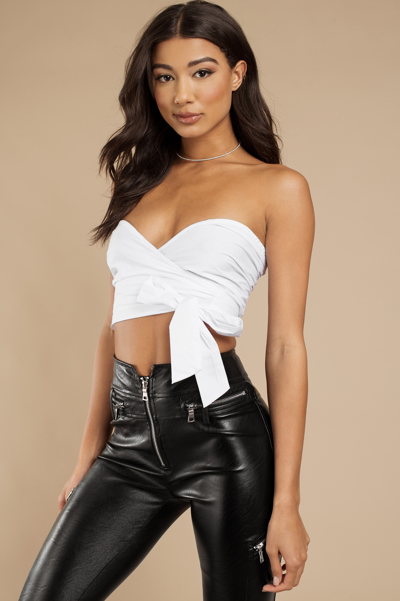 d0464b4d588c5 Wasted Times White Strapless Wrap Crop Top -  20