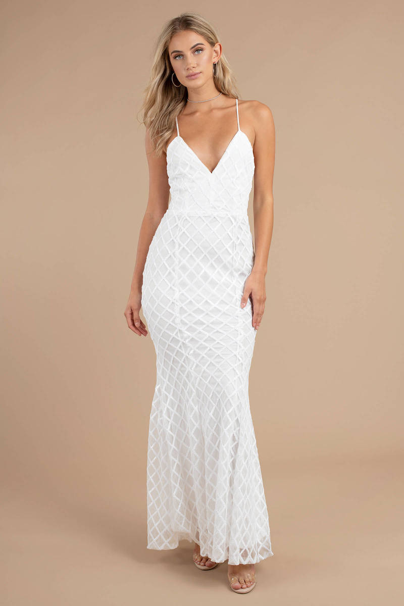 white maxi dress  sequin embellished dress  white bridal