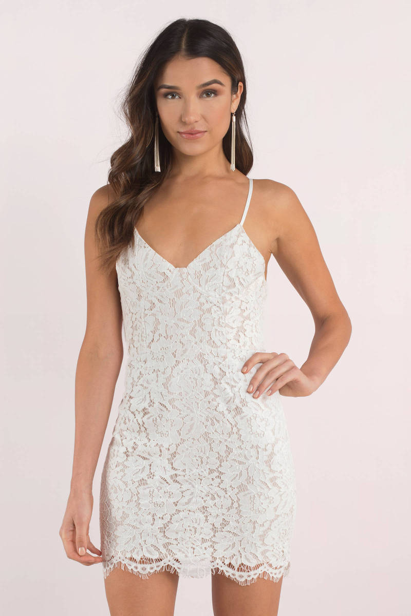 e65f6f91a3 Trendy White Bodycon Dress - Tight Dress - White Mini Dress -  18 ...