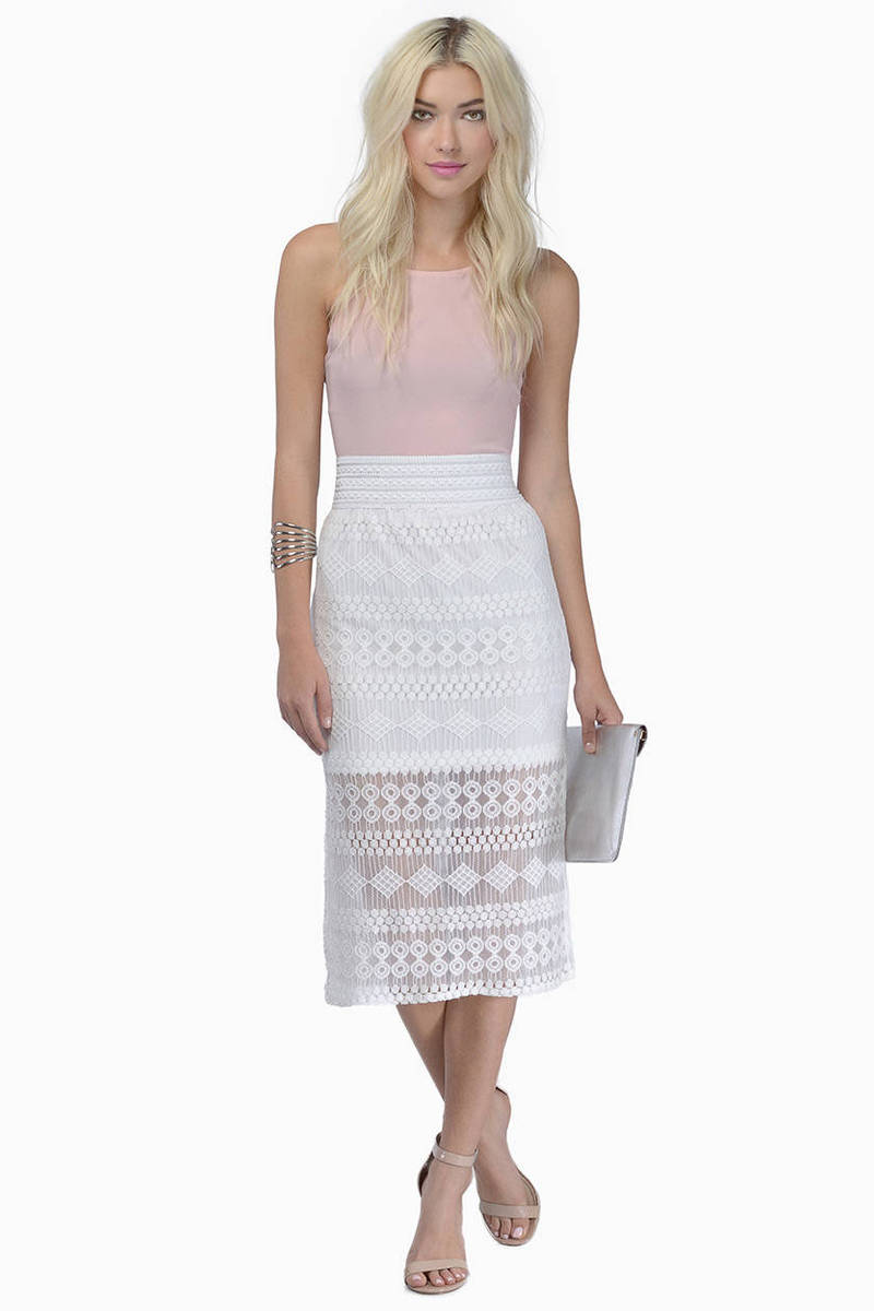 Without Words White Lace Sheer Skirt