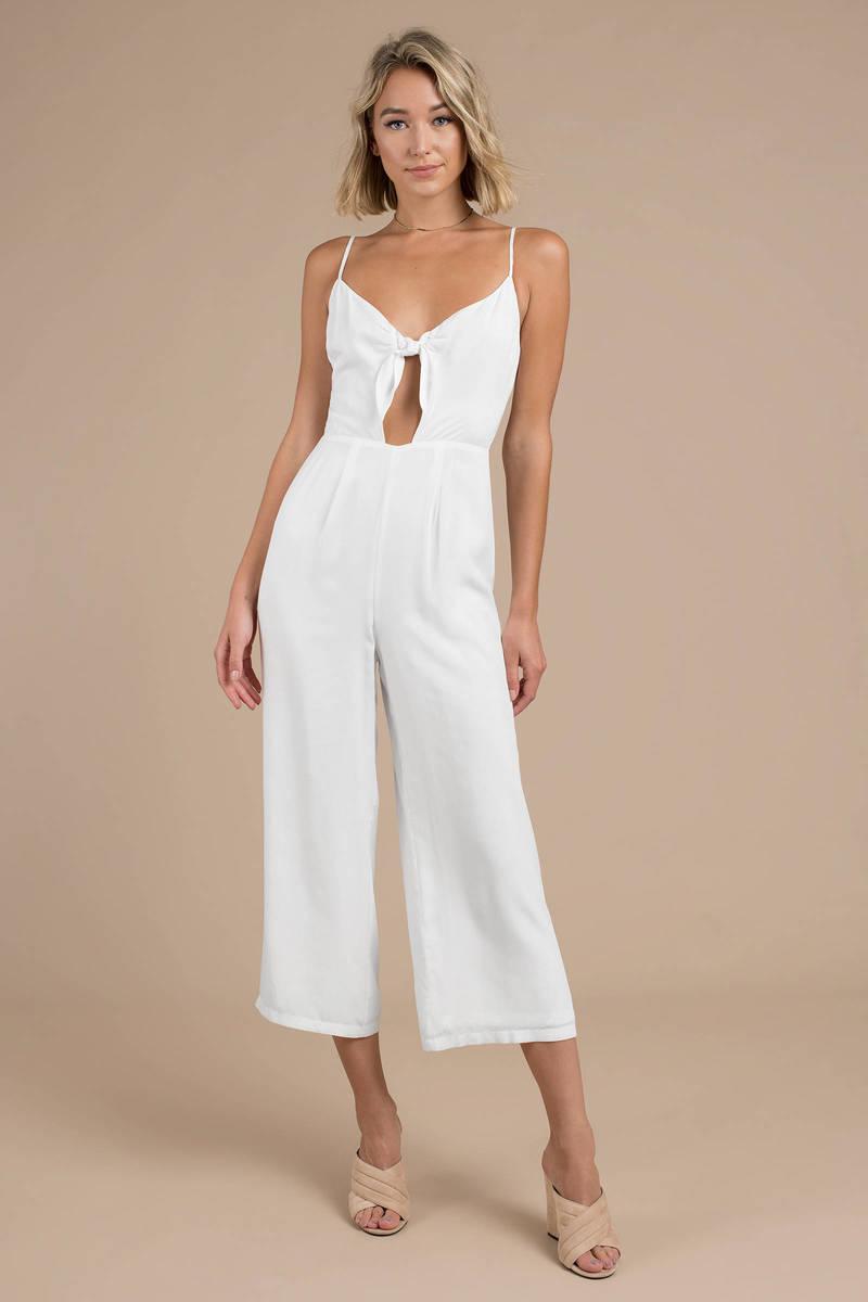 252c4f2f4415 White Jumpsuit - Cut Out Jumpsuit - White Sleeveless Jumpsuit -  32 ...
