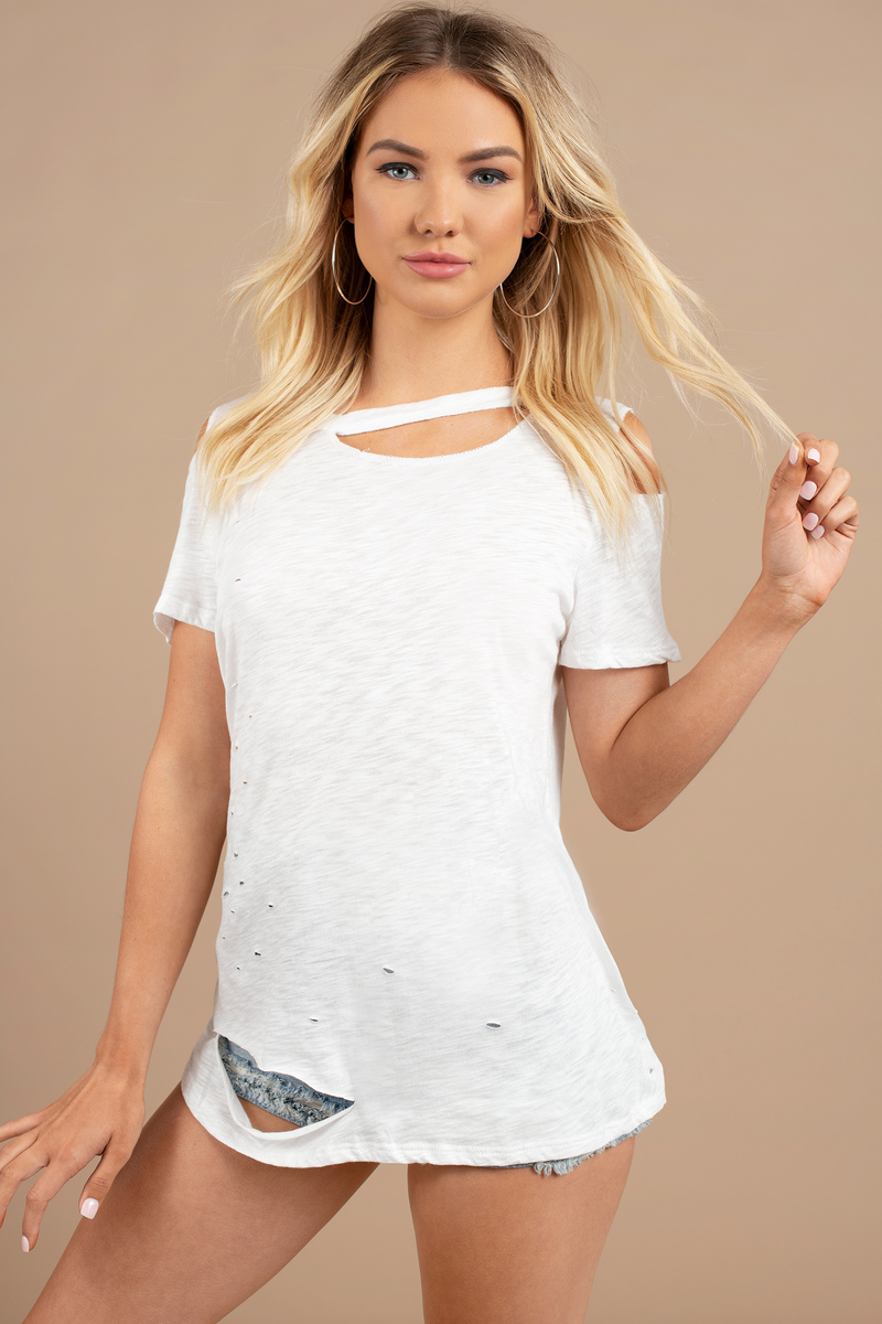 Zoey White Cut Out Tee
