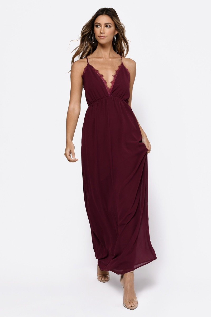 9c07ffd383f38 Sexy Wine Maxi Dress - Plunging Dress - Red Dress - Maxi Dress - $35 ...