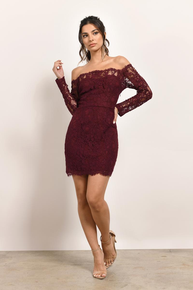 2e766a05e8d5 Burgundy Dress - Lace Off Shoulder Dress - Burgundy Strapless Dress ...
