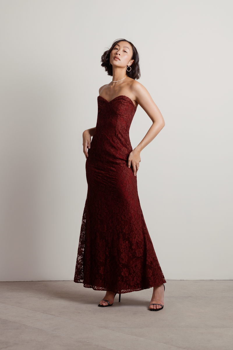 71a1439dbc30 Burgundy Maxi Dress - Lace Formal Dress - Burgundy Strapless Dress ...